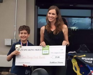 Pre-Teen Speaking Skills Graduate Wins Donation for the San Diego Food Bank